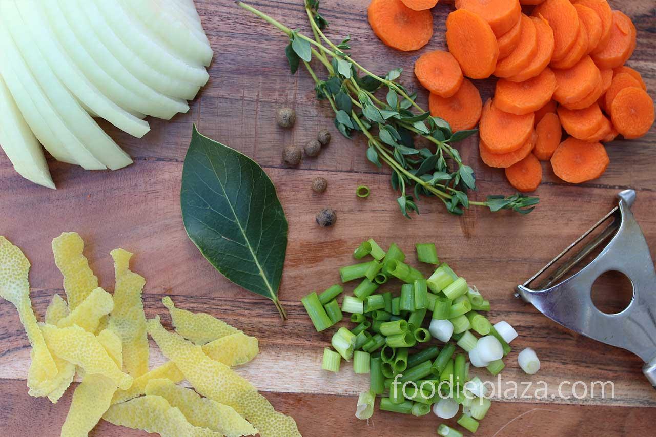 Ингредиенты для корт-бульона