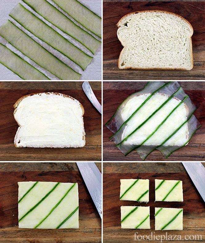 Чайные сэндвичи с огурцом: пошаговая техника составления