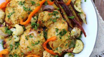 Курица тандури, запеченная с овощами в духовке