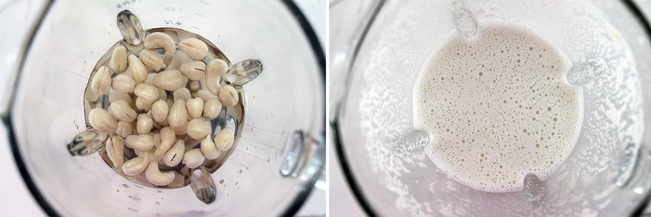 Приготовление молока из кешью в блендере