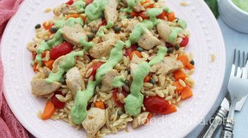 Паста орзо с курицей и овощами